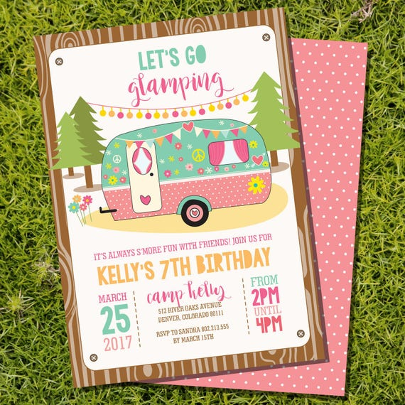 Camping Theme Invitations: Glamping Party Invitation Campervan Party Invitation Camp