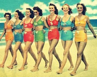Beach Art Print, Beach Photograph, summer outdoors art retro beach decor girls in vintage swimsuits Beach Bathroom Prints, Bathroom Wall Art