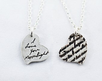 Memorial Jewelry Signature Necklace Your Loved One's Actual Writing or Signature on a Silver Pendant - Handwriting Jewelry