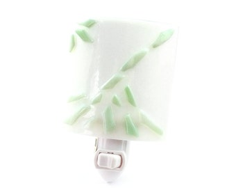 Night Light, White & Green Art Glass, Contemporary Home Decor, Wall Plug In