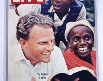 Mounted Photo of Billy Graham 10x14 Life Magazine Cover by James Burke in Africa 1960 stiff mounted