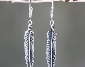 Sterling silver leaf earrings with oxidized on sterling silver post style