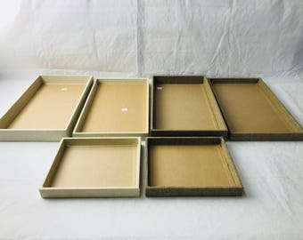 Wooden Burlap/Linen  Utility Tray