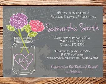 Mason Jar Roses Bridal Shower Invitation Chalkboard Roses