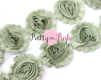 Sage -  Shabby Rose Trim -Shabby Chiffon Rosettes - 1/2 Yard or 1 Yard - Shabby Flower - Wholesale Shabby Flower - Chiffon Flower