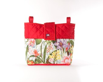 Red Wildflower Blast Walker Bag for Rollators