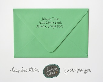 Sunshine Handwritten Address Stamp: your choice of self-inking or red rubber