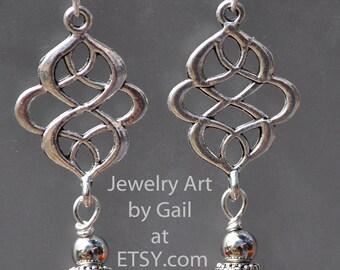 Antique Silver Orange Lamplight Earrings
