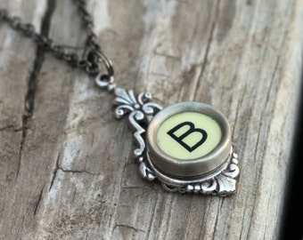 Mother Of The Bride Necklace,Vintage Wedding Jewelry,Monogram Necklace,Typewriter Key Necklace,Initial Necklace, Letter B Jewelry,