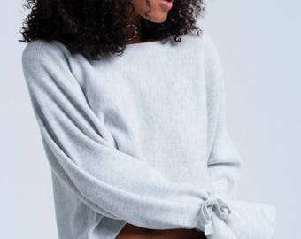 Crop sweater with tie sleeves