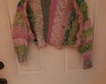 hand knitted  shrug!