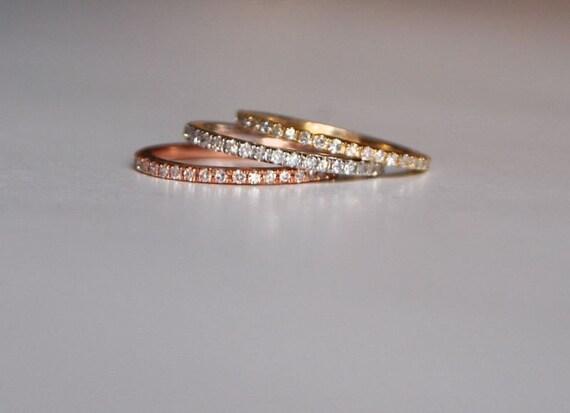 Diamond band Gold Wedding Band Full Eternity Diamond 14K Rose Gold Ring by EidelPrecious