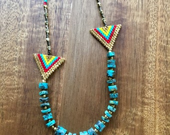 Gold and turquoise Arrow necklace, southwestern beaded necklace, gold brickstitch necklace