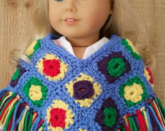 "American Girl or 18 Inch Doll ""Hippy"" Poncho, Top and Bellbottoms"