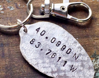 Coordinates Keychain, Latitude Longitude Gift, Commemorate your Special Place Spoon keychain, Gift for Husband, Wife, Friend