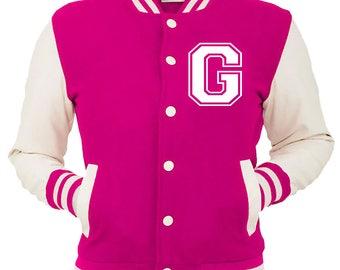 Personalized Pink Varsity Jacket, Base Ball Jacket, Letterman Jacket Pink & White - Custom Letter G