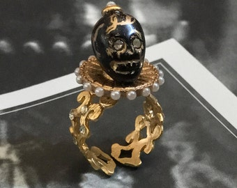 Memento Mori 22K Gold Plated Black Skull Ring with Elizabethan Pearl Ruff and Crystals Adjustable