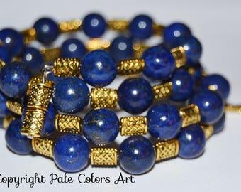 "26"" Lapis Lazuli 10mm Stone Memory Wire Bracelet,Blue Lapis Lazuli Bracelet,Blue and Gold Memory Wire Bracelet, PaleColorsArt.com"