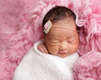 Tieback Headband, Newborn Tieback, Flower Tieback, Flower Headband, Pink Tieback, Newborn Headband, Newborn Props, Photo Props