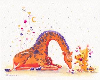 Orange Giraffe Kids Wall Art Kids Room Decor Elegant Giraffe Print - Koala's Multi-berries Oak - 8x10 Oange giraffe Nursery Art
