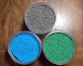 Preciosa 11o Glass Seed Beads, seedbeads, 15g, light blue, opaque grey, opaque medium green