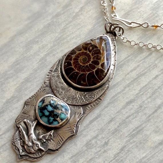 Mineral & Menagerie Collection: Fossil Ammonite, Emerald City Variscite, and Blue Jay Statement Necklace with Reticulated Silver Moon