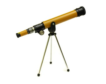Krys Vintage Telescope Made in Japan. 1970s Orange Astronomical Telescope with Tripod. Kids Room Decor and Gifts.