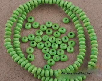 40 wooden beads 6mm round  saucer shape... green ... great for spacer beads