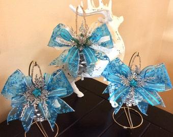 Silver pinecone ornament set, Christmas ornaments, holiday ornaments, pinecone ornaments, holiday decor, Christmas decor, ornament sets