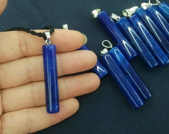 5pcs/lot -long Navy Blue Agate Stick Pendant,agate stone tube/cylinder charm, 10x45mm,Mens Pendant