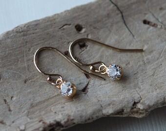 Dainty Elegant CZ Solitaire Earrings / Tiny Diamond Pendant Drops, CZ Dangles, 14k Gold Fill, Sterling CZ Silver Drops
