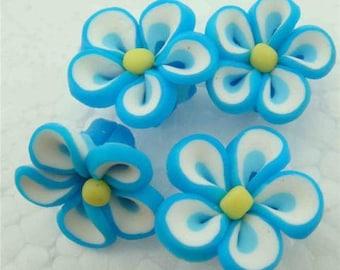 5 Piece Handmade Blue Clay Flower Bead Cabochons - Kawaii Decoden Flatback (TDK-C1412)