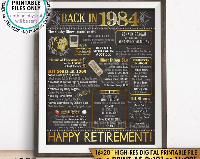 """Retirement Party Decorations, Back in 1984 Poster, Flashback to 1984 Retirement Party Decor, Chalkboard Style PRINTABLE 16x20"""" Sign <ID>"""