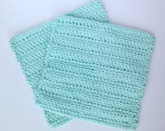 Crochet Dishcloths or Washcloths for the Kitchen or Bathroom - Set of 2 - Robin's Egg Blue - 100% Cotton Yarn