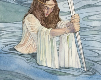 Lady of the Lake ~ King Arthur Legend Merlin Sword Water 8x10 Signed Fantasy Art Print Illustration