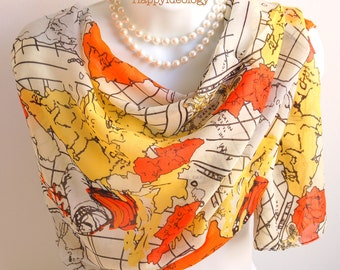 World Map Scarf. Orange and Yellow Long Scarves/Shawl/Wrap/Stole.Chiffon Scarf.Summer Scarf.Beach Wrap.Travel Themed World Traveler Gift