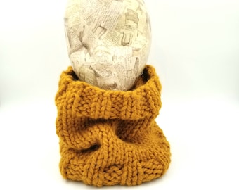 Hand Knit Cowl, Wool Cowl, Acrylic Cowl, Neck Warmer, Chunky Cowl, Chunky Knit Cowl, Chunky Wool Cowl, Butterscotch Cowl, Gold Cowl, Snood