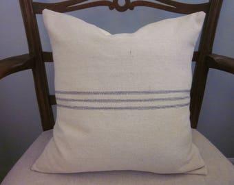 Grain Sack Pillow Cover, Feed Sack, Blue Stripes, Cottage Chic, Farmhouse, Decorative Pillow, Various Sizes, Vertical or Horizontal Stripes