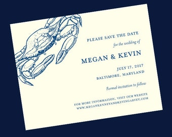 Blue Crab Wedding Save the Date // Baltimore Save the Date Card // Nautical Wedding Save the Date //