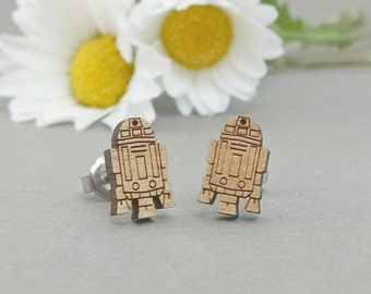 Star Wars R2D2 Earrings - Laser Engraved on Alder Wood - Hypoallergenic Titanium Post Earrings R2-D2