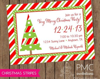 Red and Green Holiday Christmas Invitation - 1.00 each with envelope