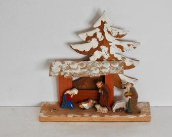 Wooden Folk Art Style Nativity Scene- Made in Italy