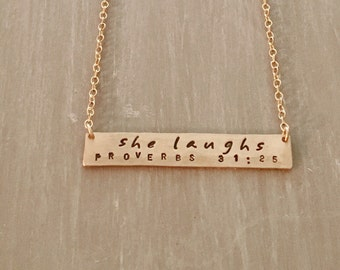 She Laughs--14kgf Horizontal Bar Necklace