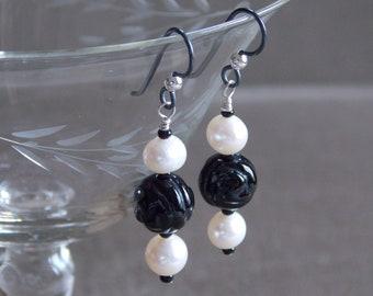 Earrings: Carved Black Onyx Rose and White Freshwater Pearl Earrings, Black Niobium with Sterling Ball Wires, Black and White Earrings