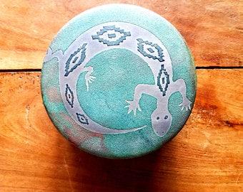Stephan Roy Pottery Lidded Vessel  Lizard Design Raku Pottery Stephan Roy Design