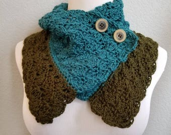 Teal and forest green button up cowl