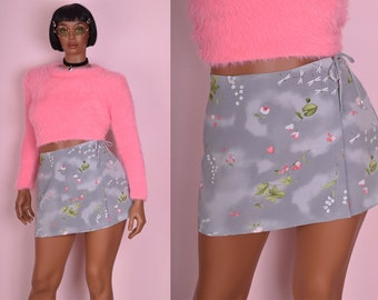 90s Floral and Dragonfly Print Wrap Skirt/ Large/ 1990s/ Mini