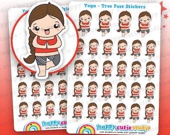 28 Cute Yoga/Tree Pose/Exercise/Gym Girl Planner Stickers, Filofax, Erin Condren, Happy Planner,  Kawaii, Cute Sticker, UK