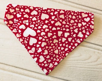 Handmade Dog Collar Bandana by Sew Poochie - 100% cotton Red with White Hearts
