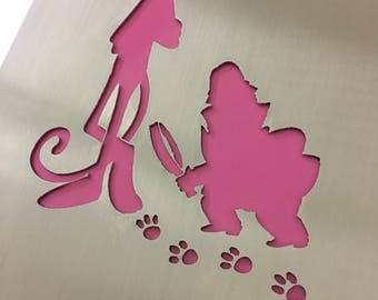 Pink Panther laser cut stainless steel iconic film poster